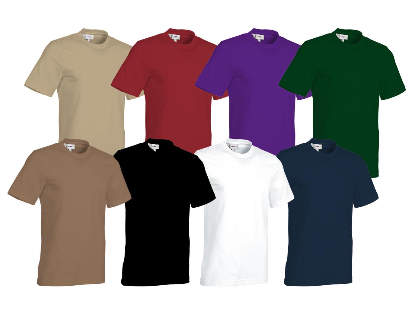 Rundhals T-Shirt aus Baumwolle oder Mischgewebe in verschiedenen Farben