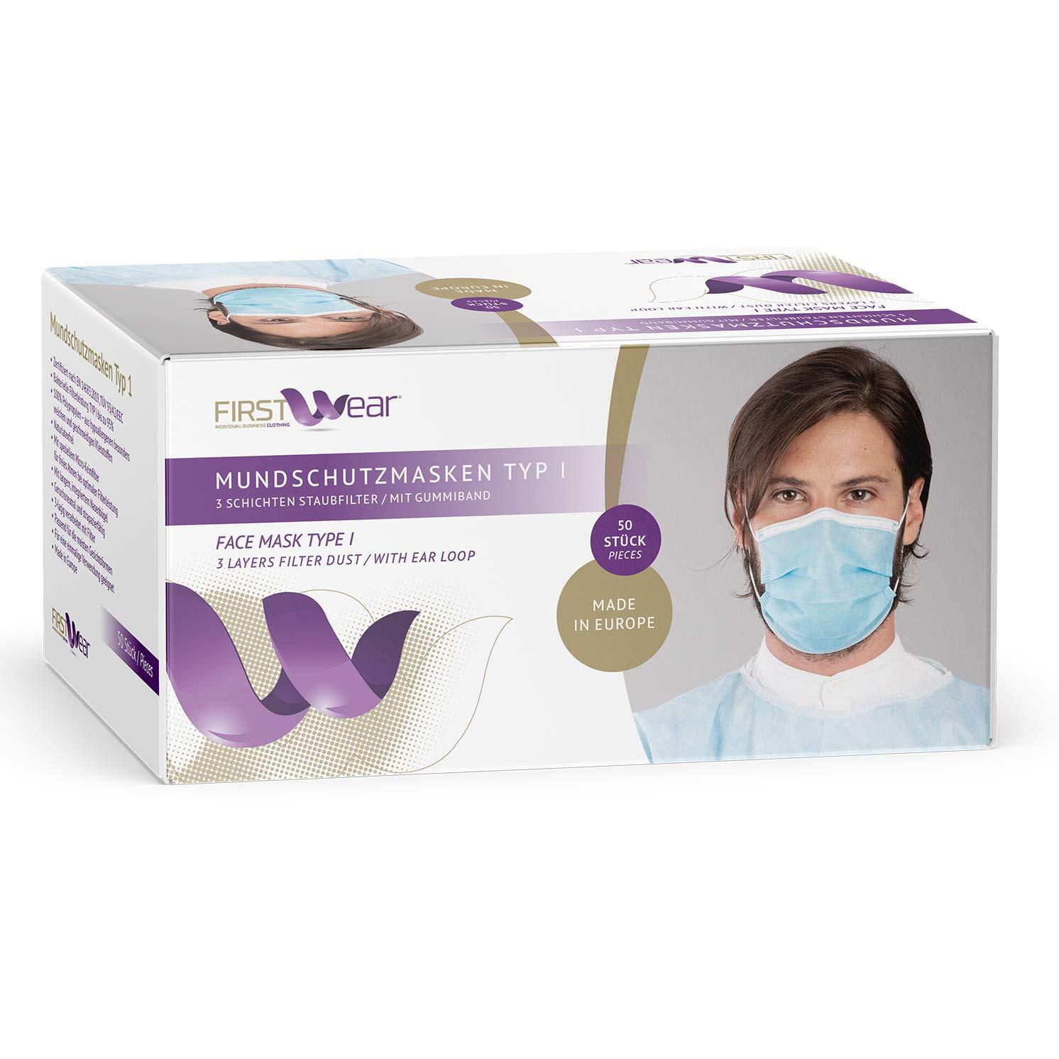 Mundschutzmasken Typ I aus 100% Polypropylen