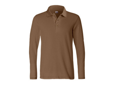 Mocca-farbenes Longsleeve Polo-Shirt aus Baumwolle