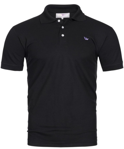 Piqué-Poloshirt Kurzarm aus Bambus-Viskose - schwarz